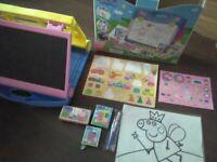 Peppa Pig Toy bundle Travel Easel arts set + wheelie trolley suitcase + DVD