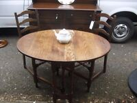 Most Lovely Solid Oak Rustic 1920's Dropleaf Spacesaver Table