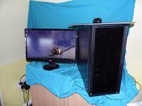 "Intel i7-2500 QUAD core mid-range Gaming PC and 24"" monitor"