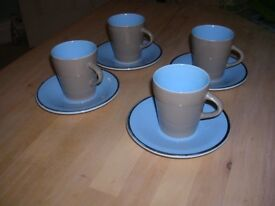 Palissy Coffee Cups and Saucers x 4