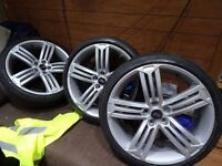 "VW GOLF R 19"" ALLOYS JUST BEEN FULLY REFURBD 2 NEW BRIDGESTONE 2 NEW CONTIS 235 35 19 £550 ono"