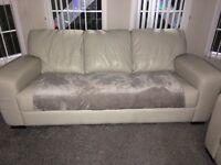 3+2 seater grey leather sofas