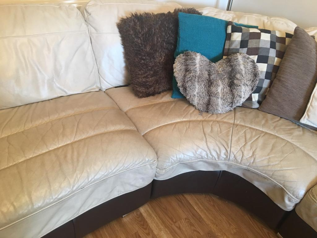 Cream Leather Corner Sofa From Furniture Village In