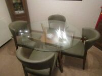 6 MONTHS OLD - LIKE NEW & HARDLY USED GLASS DINING TABLE & 4 CHAIRS - COST £650