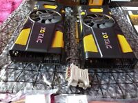 Zotac Geforce GTX 560Ti 448 cores 1.28gb graphic cards (2 x Rare Cards)