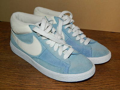 unisex NIKE light blue suede high top lace up trainers size uk 5 eur 38.5