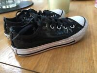 68717fdd12 Girls black sparkle converse size 11