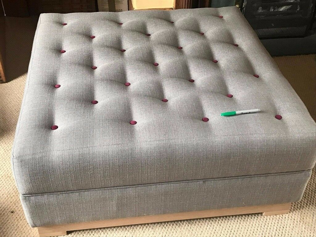 Reduced Grey Fabric Buttoned Ottoman Coffee Table The Open