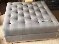 Grey Fabric Buttoned Ottoman Coffee Table from The Open Door Co. / Jameson Seating 40 Inch 1 metre