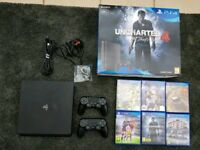 PS4 Slim 500gb - 6 x Games 2 x Controllers - Like New