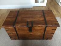 LARGE 'INDIAN WOOD' TRUNK / CHEST / BLANKET BOX