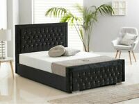 Plush Velvet Heaven Bed In Double & King Size With Semi Ortho Mattress