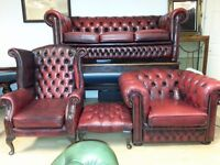 beautiful antique set. Lovely 4 pieces ox blood red leather Chesterfield. 3+1+1+footstool.