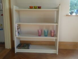 Bookcase - 90.5 cm H x 84 cm W Grey with Motif painted on sides - 4 bookshelves - Shabby Chic