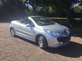 SILVER PEUGEOT 207, LOW MILEAGE , CONVERTABLE, MOT TILL MAY 2017