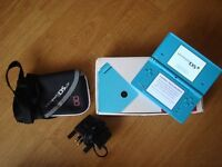 Light Blue Nintendo DSi w/ 12 Games, Case, Charger and Accessories