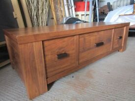 Next coffee table with 3 drawers, medium brown
