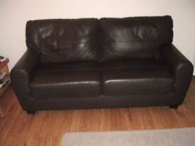 LEATHER 3 SEAT & 2 SEAT SOFAS VGC FROM A SMOKE FREE HOME BRAINTREE