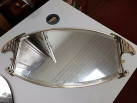Vintage Art Deco Style Oval mirror with decorative side panels