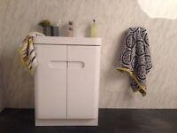 Mode Planet White Gloss Vanity unit, floor standing, bathroom cabinet cupboard sink basin cubik tap