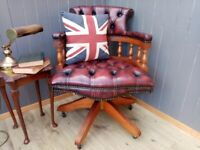 Stunning Oxblood Leather Chesterfield Capetians Chair