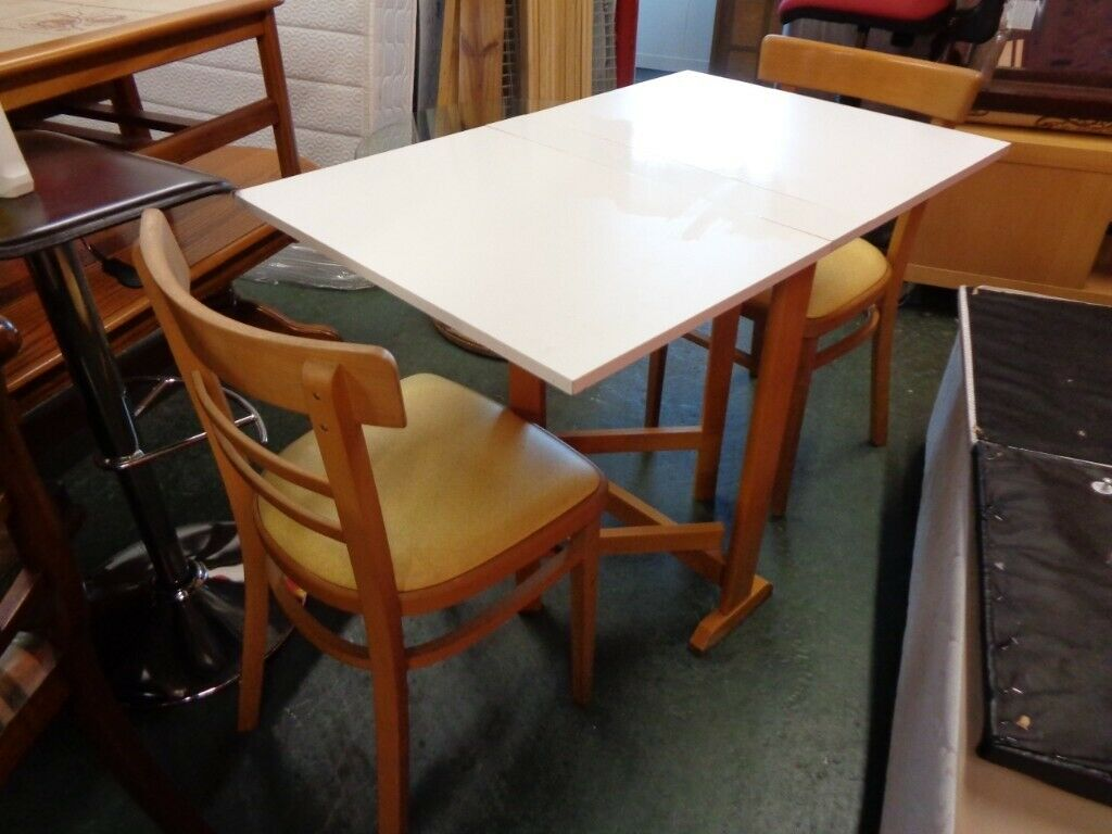 Small Retro Kitchen Dining Set White Drop Leaf Table 2 Chairs In Sheffield South Yorkshire Gumtree