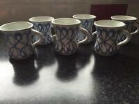Pottery coffee mugs x6