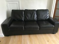 Leather 3-seat Sofabed + 2 Tub Chairs