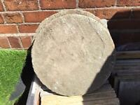 Reclaimed circle stepping stones x3