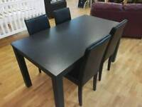 Black Dining Table With 4 Matching Leather Chairs