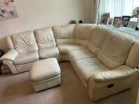 Beige Leather Corner Sofa & Ottoman Footstool