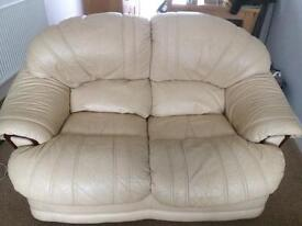 3 piece leather suite 2 seater and arm cha
