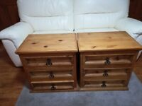 Pair of Solid rustic wooden 3 drawer chests