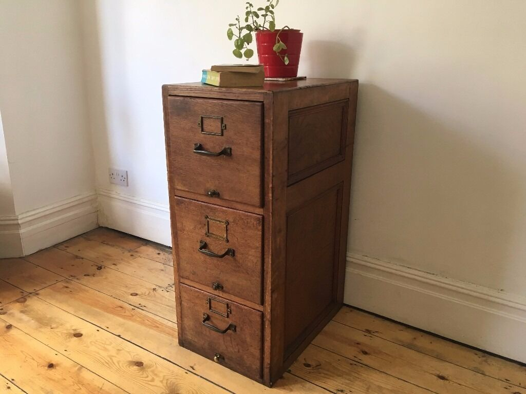 Beautiful Antique 3 Drawer Solid Oak Filing Cabinet Drawers ...