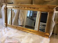 Over mantle mirror with gold frame