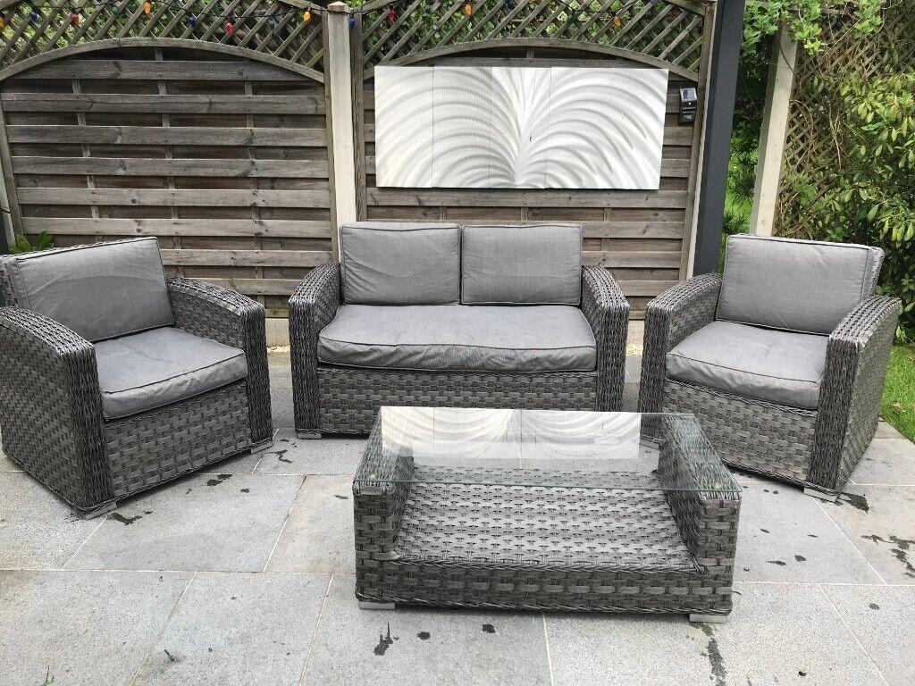 Garden Furniture Set, Rattan Grey, Settee Chairs & Glass ...