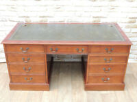 Large Heavy duty Directors Desk Leather top (Delivery)