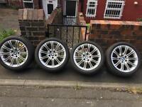 "Bmw e60 18"" mv2 alloy wheels and Runflat Tyres - 520 525 530 535 5 series m sport alloys rims"