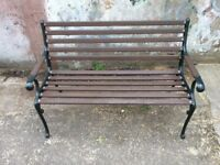 Refurbished Garden Bench For Sale With Cast Iron Ends and Wooden Slats, 1.3m Wide