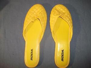 "Women ""SODA"" Yellow Slip On Slippers Size: 10"