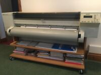 "HP designjet 650C 36"" wide format colour printer plotter inkjet &built to measure stand on wheels"