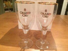 50Cl Gold Rim Beer Glasses x6