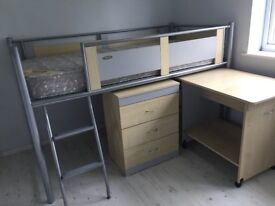 PRICE REDUCED Single Bed (Adjustable Cabin Bed) +Desk +Chest of Drawers