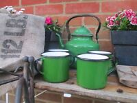 Vintage Enamelware Kettle Mugs Camping Camper Caravan Home Farmhouse