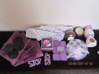 BUNDLE PURPLE CANDLE BOWLS/OIL BURNERS/FLOWER SOAPS GIFT SET/RUBBER DOORSTOPS/TUBS/ORGANISER/COASTER