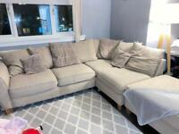 Beige corner fabric couch / sofa