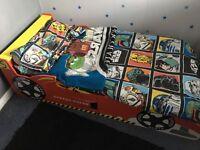 Children's wooden car bed and matresss.