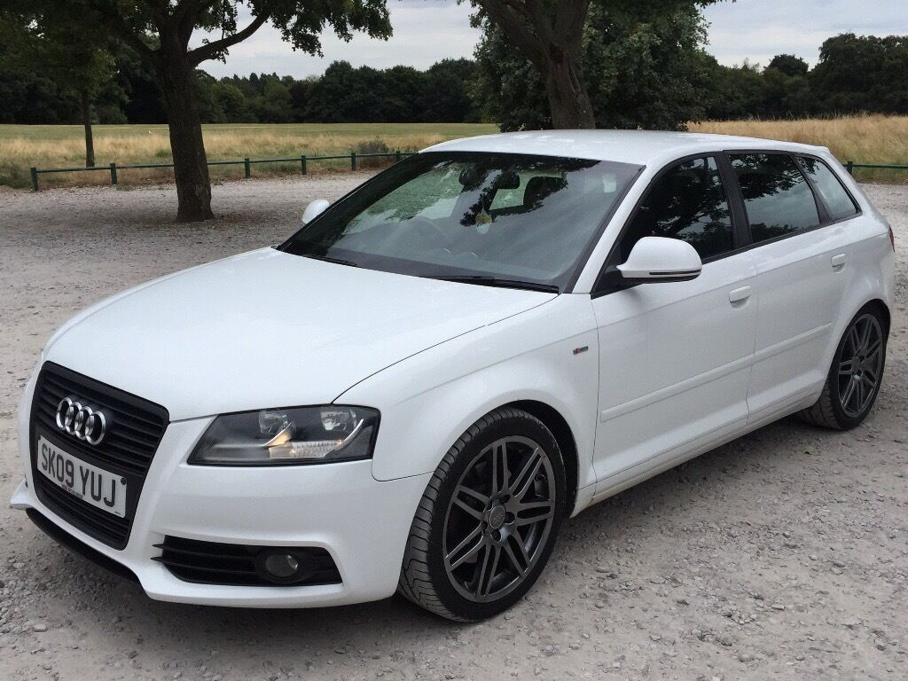 audi a3 2009 2 0tdi 170bhp s line diesel sportback white mot jan 2017 18 alloys alcantra. Black Bedroom Furniture Sets. Home Design Ideas