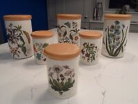 6 x Portmeirion 'Botanic Garden' airtight storage jars with wooden lids (3 large and 3 small)
