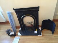 Cast iron fireplace, granite hearth, gas fire tray